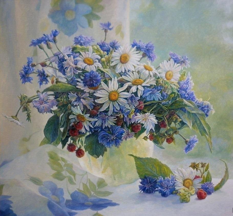 С днем рождения открытки с полевыми цветами женщине, летием сестру картинках